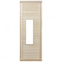 Дверь для сауны Банные штучки 1,9*0,7м., со стеклом, липа, коробка из сосны, с ручками и петлями