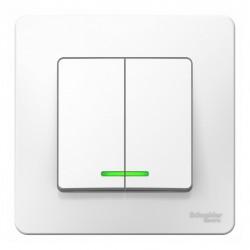 Выключатель 2-клавишный SE Blanca внутр Белый с подсветкой, 10А, 250B (арт. SE BLNVS010511)