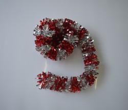 Мишура новогодняя красный с серебром 9*200см 16499