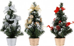 Ель декоративная 30,5см в горшке, декорированная лентами и шарами, АКВ000020