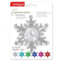 Декоративная фигурка Снежинка светодиодная на присоске 10,5*10,5 см, меняет цвет, с батарейкой 55055