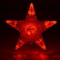 Верхушка на елку Звезда красная 30 красных мигающих led  20*20 см, 220 v 55086