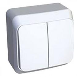 Выключатель 2кл Lexel Этюд наружный белый BA10-002b