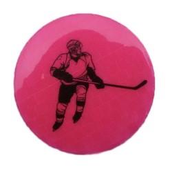 Значок световозвращающий Хоккей розовый