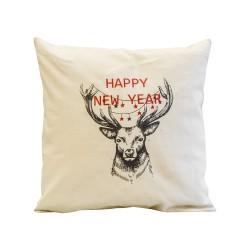 Подушка декоративная 40х40 с печатью (Диагональ 98, бежевый+Рождественский олень)