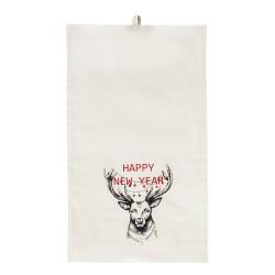 Полотенце 35х55 с печатью (Диагональ 98, бежевый+Рождественский олень)