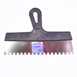 Шпатель зубчатый 300мм зуб  8*8мм, нерж, с пласт ручкой EUROTEX 020607-080-300