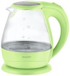 Чайник Energy E-266 (1,5л, диск) стеклянный, зеленый