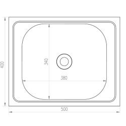 Мойка накладная MIXLINE 40х50 прямоугольная нержавеющая сталь