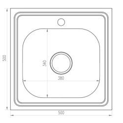 Мойка накладная MIXLINE 50х50 выпуск 11/2 прямоугольная нержавеющая сталь