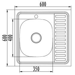 Мойка накладная MIXLINE 60х60 прямоугольная с полкой нержавеющая сталь левая