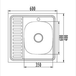 Мойка накладная MIXLINE 60х60 прямоугольная с полкой нержавеющая сталь правая