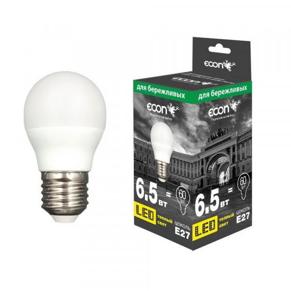 лампа светодиодная econ led p 6,5вт e27 3000k p45 es