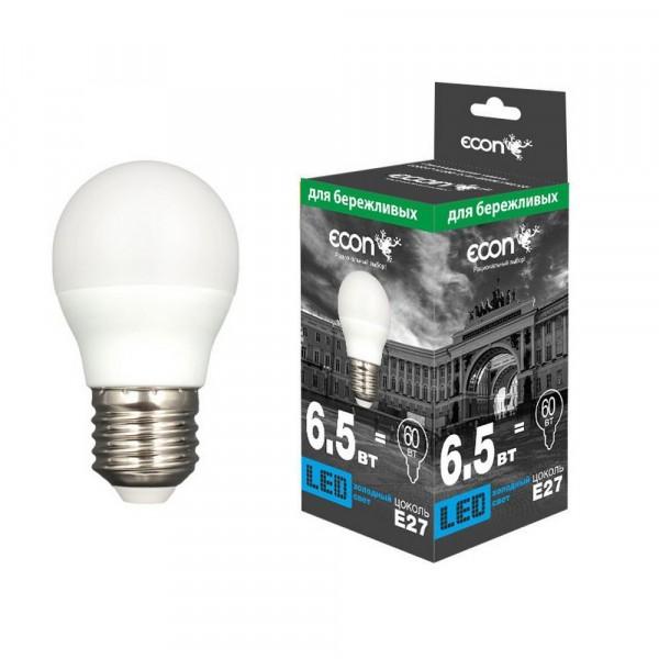 лампа светодиодная econ led p 6,5вт e27 4200k p45 es лампа накаливания philips p45 60w e27 cl