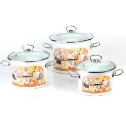 Набор посуды эмалированной 3 пр. idilia Поварской, со стеклянными крышками
