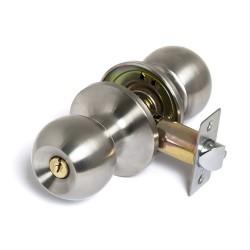 Ручка-кноб с защелкой  6072 SN(матовый никель) с ключом