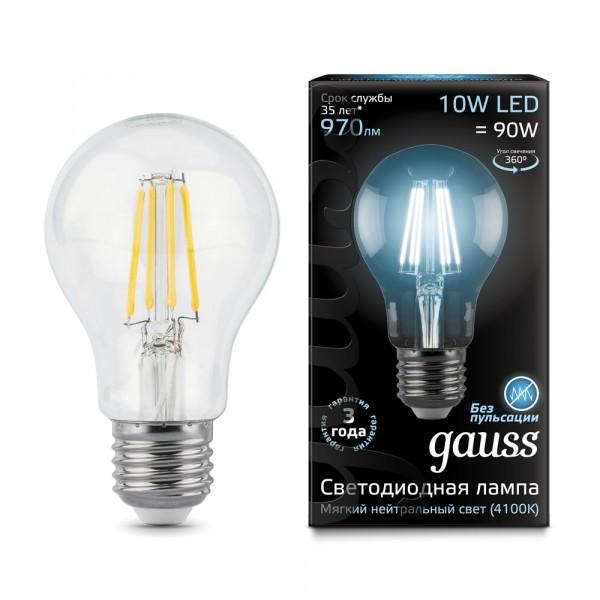 лампа светодиодная gauss филаментная e27 a60 10w 4100к