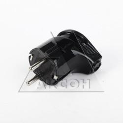 Вилка электрическая с/з 16А угловая черная Универсал А0105