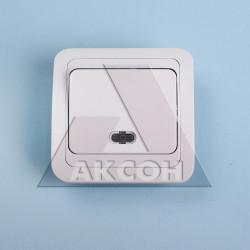 Выключатель 1кл MAKEL Mimoza с подсветкой белый/белый 12021