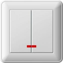 Выключатель 2кл Вессен 59 с/у с подсветкой белый VS516-251-18