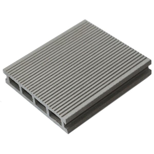 террасная доска мастер дэк classic, узкий вельвет + тиснение, цвет серый, 3000 х 140 х 26 мм