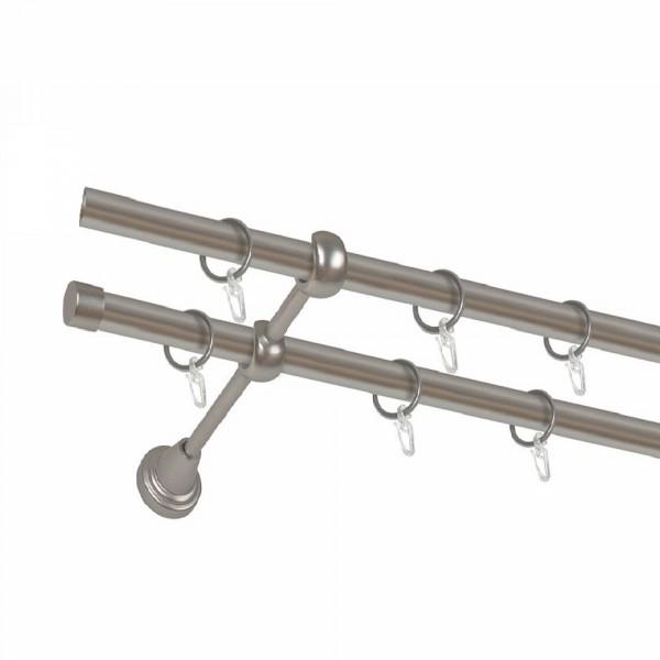 карниз металлический д16 см-2901/160/2р карнизы карниз металлический 2 рядный хром матовый крученая труба 160 см ø16 мм
