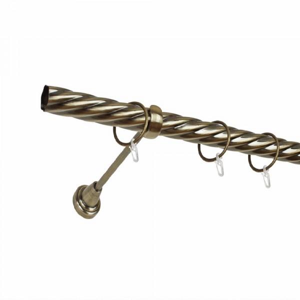 карниз металлический д25 см-2498/200/1р карнизы карниз металлический 2 рядный хром матовый крученая труба 160 см ø16 мм