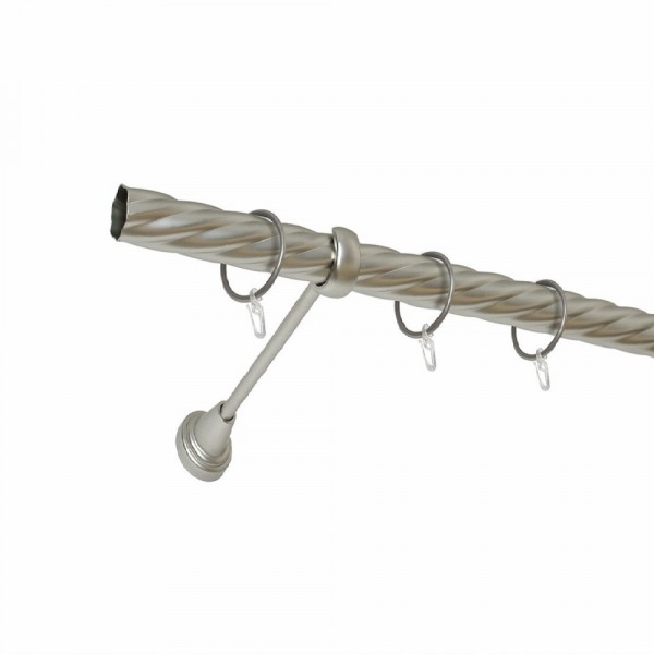 карниз металлический д25 см-2998/200/1р карнизы карниз металлический 2 рядный хром матовый крученая труба 160 см ø16 мм