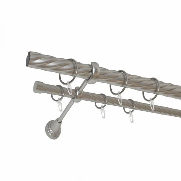 карниз металлический д25 см-2998/160/2р карнизы карниз металлический 2 рядный хром матовый крученая труба 160 см ø16 мм
