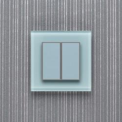 Выключатель клавишный серии ORTO для управления двумя зонами освещения O.2.1603 пастельный голубой