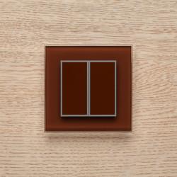 Выключатель клавишный серии ORTO для управления двумя зонами освещения O.2.8017 темный коричневый