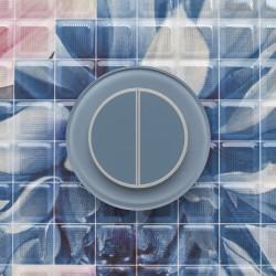 Выключатель клавишный серии RONDA для управления двумя зонами освещения R.2.7000 дымчатый голубой