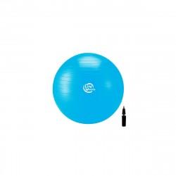 Мяч гимнастический 75см, антивзрыв, с насосом, голубой
