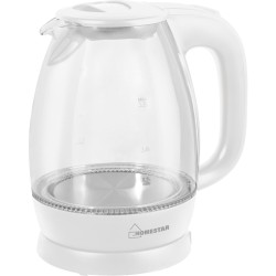 Чайник HomeStar HS-1012 1,7л стекло/пластик, белый