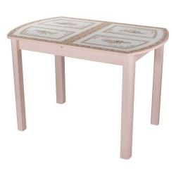 Стол кухонный Гамма ПО МД ст-72 04 МД бежевый с растительным орнаментом, ножки бежевые