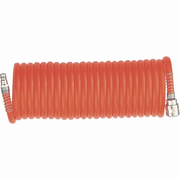 шланг спиральный воздушный 8 х 12 мм, 18 бар, с быстросъемными соединениями, 15 метров stels 57019