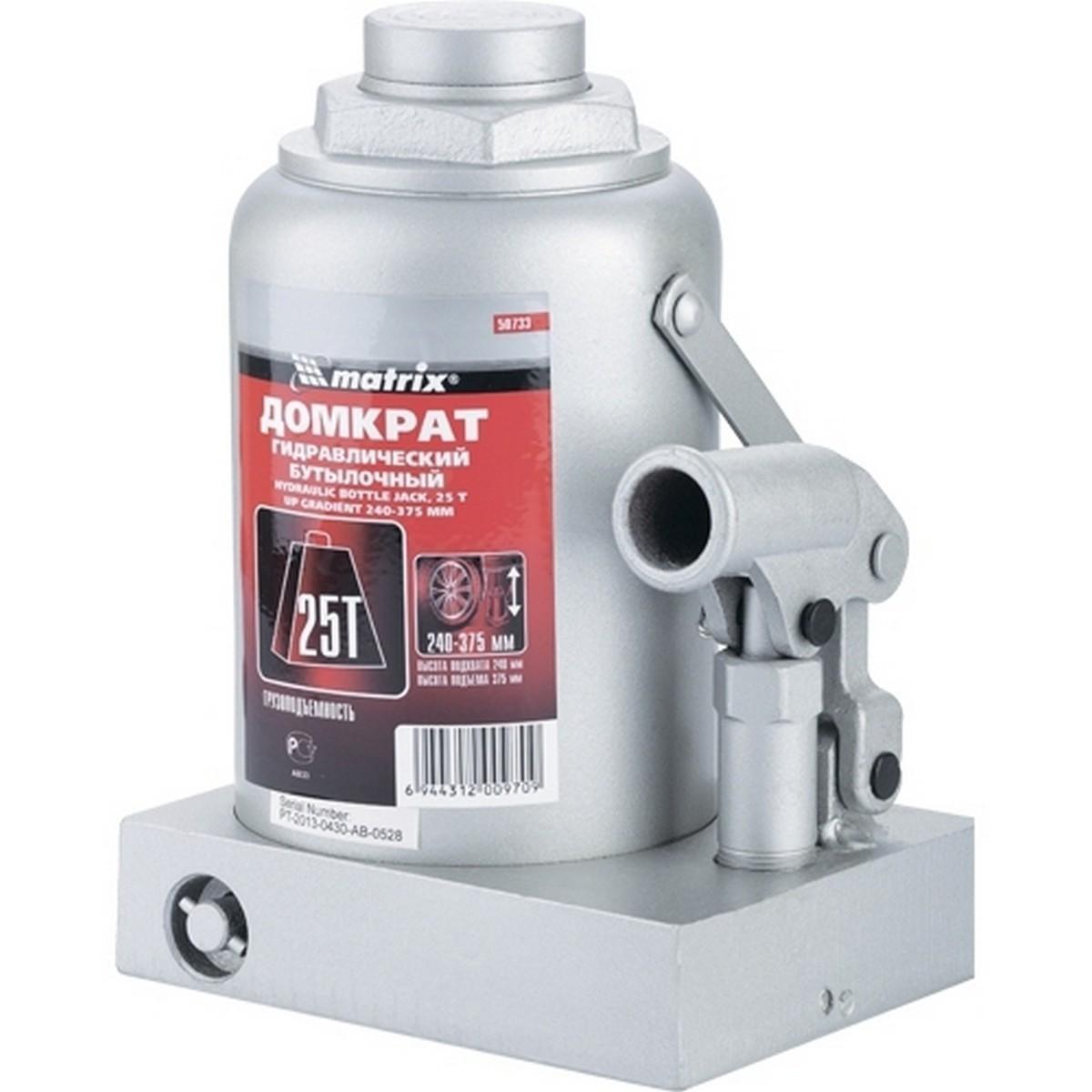 Домкрат гидравлический бутылочный 25т h240-375мм Matrix 50733