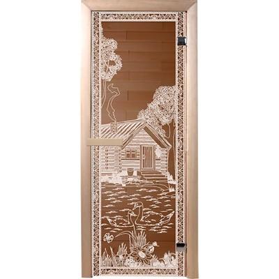 Фото - дверь из стекла банька в лесу1,9х0,7 м бронза 6мм, коробка хвоя, 2 петли,в гофрокоробе банные штучк дверь для сауны стеклянная doorwood dw01028 восточная арка прозрачная 800х2000 мм