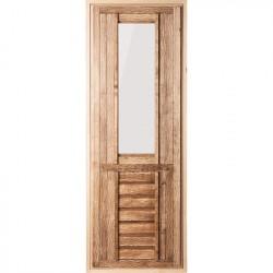 Дверь со стеклом матовым, искусственно состарена, 1,9х0,7 м.,липа Класс А, коробка из сосны , с ручк