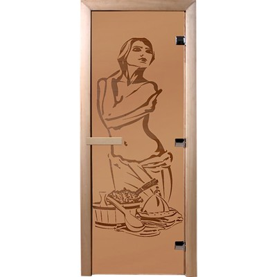 Фото - дверь из стекла искушение 1,9х0,7 м.,бронза матовая 6 мм, коробка хвоя, 2 петли,в гофрокоробе банны дверь для сауны стеклянная doorwood dw01028 восточная арка прозрачная 800х2000 мм