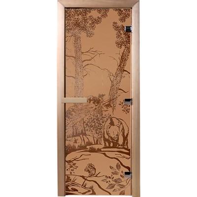 дверь из стекла мишки1,9х0,7 м бронза матовая 6 мм, коробка хвоя, 2 петли,в гофрокоробе банные штуч