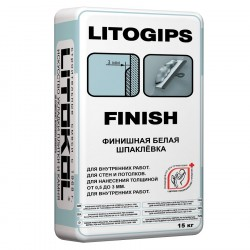Шпатлевка финишная белая LITOGIPS FINISH, 15 кг
