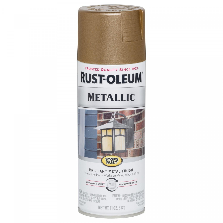 Эмаль STOPS RUST антикоррозийная с эффектом металлика (цвет: античная латунь), спрей 0,312кг