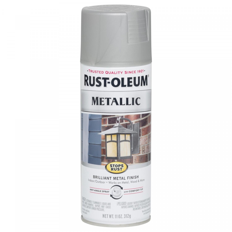 Эмаль STOPS RUST антикоррозийная с эффектом металлика (цвет: матовый никель), спрей 0,312кг
