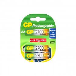 Аккумулятор перезаряжаемый GP 270AAHC AA, емкость 2650 мАч 4 шт. в упаковке