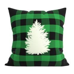 Подушка декоративная 44х44 с печатью (Велюр Печать (МФ01) Ёлка на зеленом)