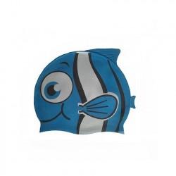 Шапочка для плавания силиконовая Рыбка YS10 (синяя)