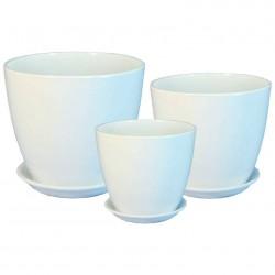 Горшок керамический Бутон глянец белый 18см