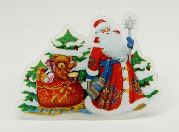 украшение новогоднее дед мороз и медвежонок арт.42201 из пвх со светодиодной подсветкой в комплекте