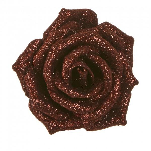 Фото - цветок декоративный роза коричневая 9см клипса 83422 (1049752) игрушка ёлочная голубка коричневая на прищепке 22 см